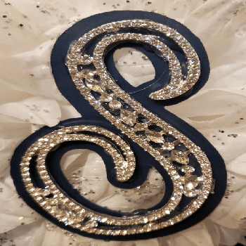 Rhinestone  Letter Silver Only