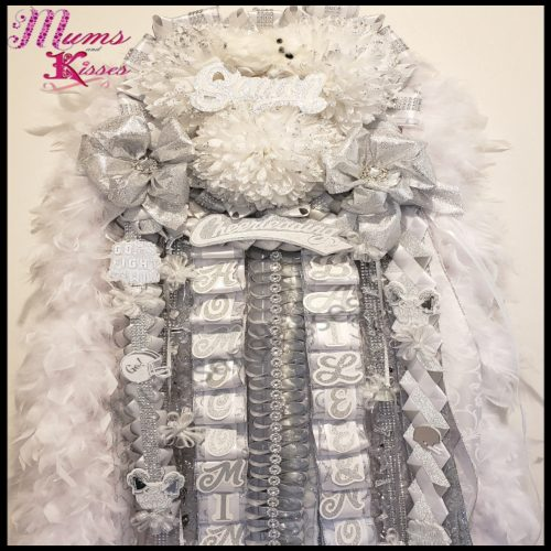 senior homecoming mum - mums and kisses - triple homecoming mum - white and silver homecoming mum